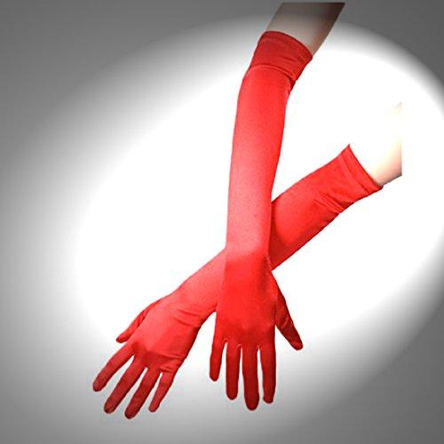 Handschuhe, Satin, rot, 40 cm