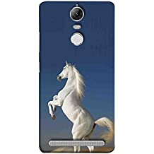 Printfidaa Lenovo K5 Note, Lenovo Vibe K5 Note Pro Back Cover White Horse with Blue Background Printed Designer Back Case