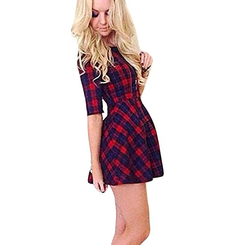 robe-femme-koly-mode-feminine-col-rond-robe-dete-manches-demi-rouge-robe-a-carreaux-new-m