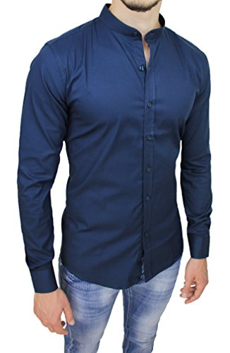 Camicia uomo cotone slim fit blu casual elegante con colletto coreana (xl)