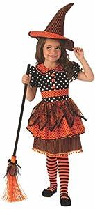 Halloween - Disfraz de Bruja para niña, naranja con lunares - 5-7 años (Rubie