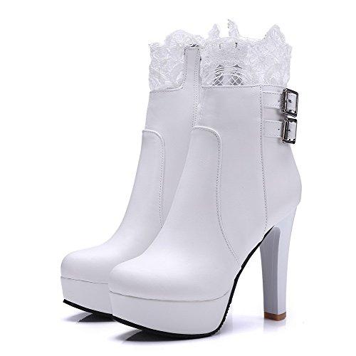 AllhqFashion Damen Hoher Absatz Weiches Material Reißverschluss Niedrig-Spitze Stiefel Weiß