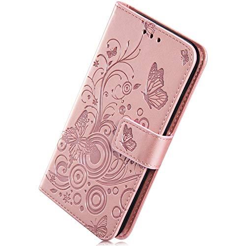 Herbests Handytasche für iPhone SE/iPhone 5S Lederhülle Leder Klapphülle Schöne Vintage Schmetterling Muster Handy Schutzhülle Brieftasche Handytasche Leder Tasche Flip Case Cover,Rose Gold