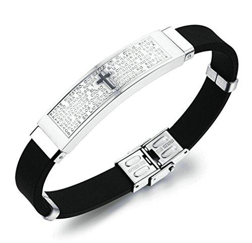 Bishiling Modeschmuck Armband Herren Edelstahl Kreuz Bibel Gebet mit Gravur Charm Armbänder Silber Länge 21.5x1CM