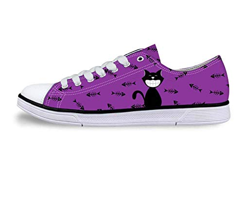 Cat Print Women Canvas Shoes Girls School Wear Lace Up Pumps Casual Plimsolls Purple+Fishbone UK 4 J Renee High Heel Heels