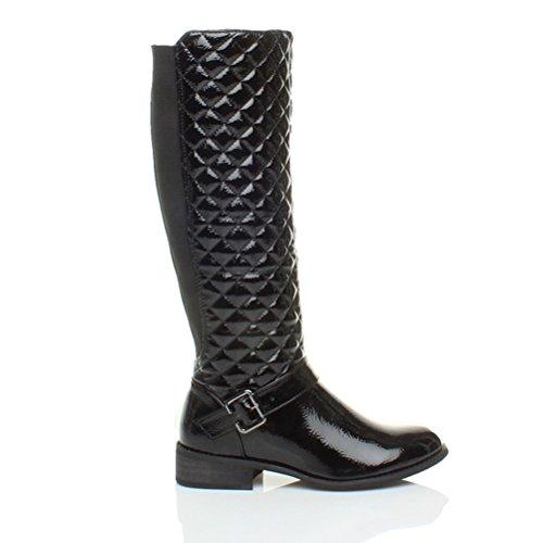 Bottes de motard femmes plates petit talon zip large genou stretch taille Noir vernis