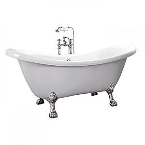 Home Deluxe - freistehende Design Badewanne - FAMA - Maße: ca. 176 x 74 x 79 cm - Füllmenge: 204 Liter - Inkl. komplettem Zubehör
