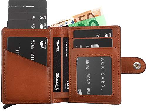 Herren-leder Id Wallet (Solo Pelle Geldbörse für 15 Karten + Geldscheine + Kleingeld geeignet | Kreditkartenetui Kartenetui mit RFID aus echtem Leder Q-Wallet (Cognac Braun Burned + Kleingeldfach))