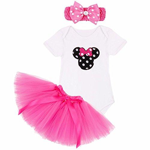 Tiaobug Baby Mädchen Kleidung Set Kleinkind Body Strampler Tütü Rock Geburtstag Outfits Minnie Kopf Rot Rock 6-9 ()