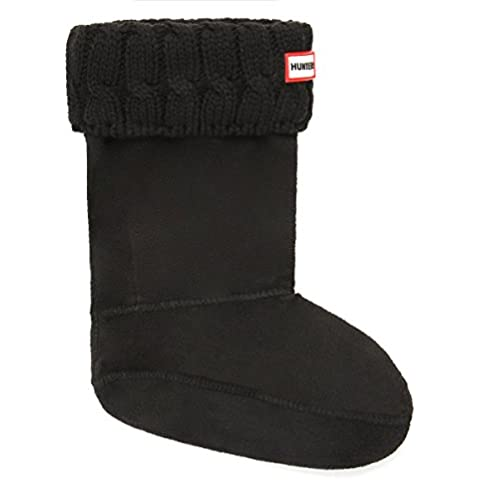 6 Stitch Cable Boot Sock Short - Black