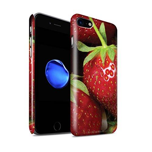 STUFF4 Glanz Snap-On Hülle / Case für Apple iPhone 8 / Orange Peel / Haut Muster / Obst Kollektion Erdbeere