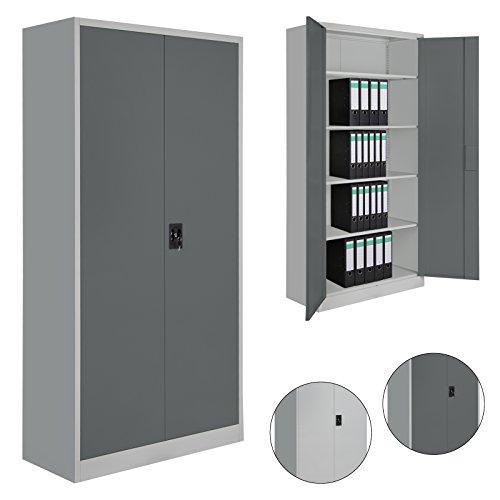 Spind Büroschrank Aktenschrank 180 x 90 x 39 cm Metallschrank Universalschrank mit 4 Einlegeböden, Höhe frei montierbar Ordnerschrank, Farbe:Grau-Dunkelgrau