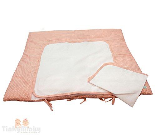 SALE % Ausverkauf Baby Wickelauflage 80 cm x 70 cm in rosa weiß bepunktet mit 2 abnehmbarem wasserundurchlässigen Frottebezug und Klettsystem Wickeltischauflage Wickelunterlage (Blau Rosa Und Bettdecken)