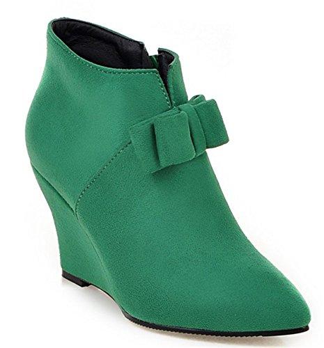 YE Damen Wedges Keilabsatz Spitze Wildleder Stiefeletten mit Schleife und Reißverschluss 8cm Absatz Bequeme Elegant Herbst Schuhe Grün