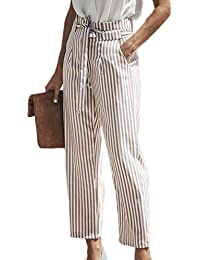 b2dec078cec Yacun Women High Waist Stripes Pants Casual Ankle Trousers Tie Waist
