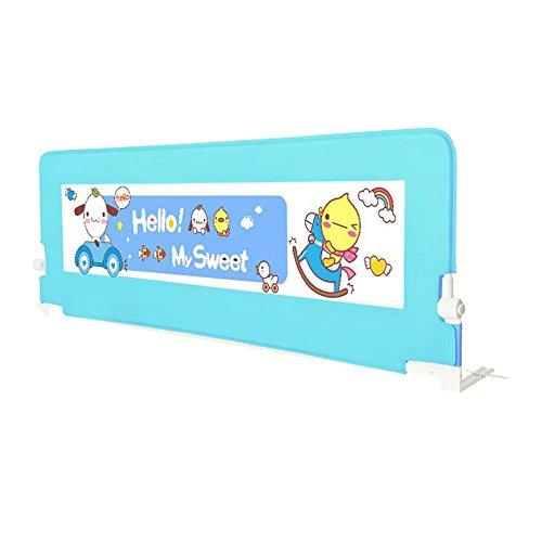 Barrières de lit Xiaolin Bébé Enfant lit Garde-Corps lit déflecteur bébé incassable lit Bar pôle Pliable (Couleur : Blue, Taille : 180cm)