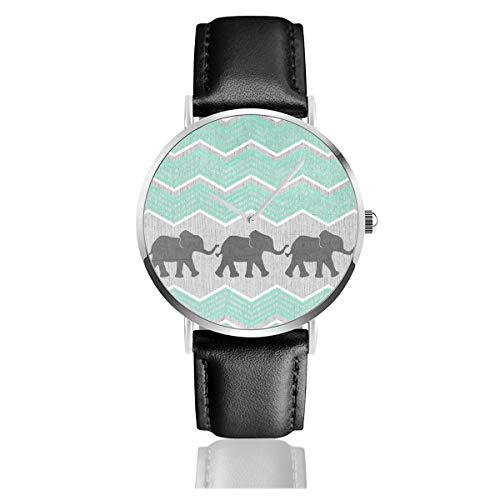 Tres Elefantes Acero Inoxidable clásico Correa de Cuero Relojes