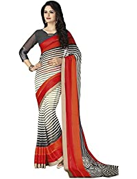 Varayu Women's Georgette Black And Off-White Printed Casual Wear Saree With Un-Stitched Printed Blouse Fabric...