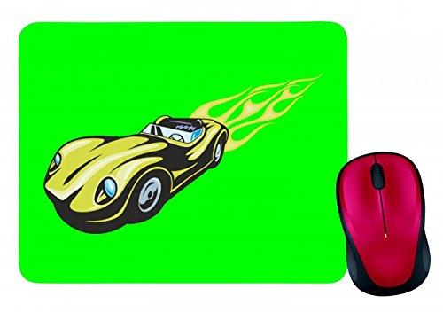 'Alfombrilla de ratón 'Verde Cabrio Oldtimer con llamas America Amy Estados Unidos Auto Car Lujo de ancho diseño V8V12Motor Llanta Tuning Mustang Cobra en blanco y negro de color azul de rosa de amarillo de color rojo de verde | Mousepad–Ratón (–Computer Pad–Alfombrilla para ratón con diseño, color verde verde