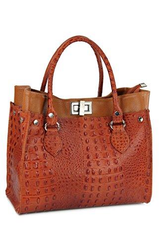 BELLI® ital. Echt Leder Handtasche Kroko Prägung und Glattleder cognac braun - 31x25x16 cm (B x H x T) (Handtasche Leder Prägung)