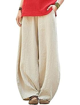 Runyue Baggy Pantalón Hippie Bloomer Para Mujer Vintage Estilo Pantalones En Algodón Y Lino Pantalones De Yoga...