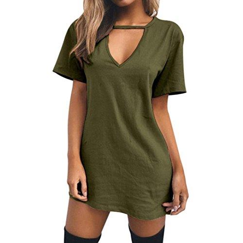 Elecenty Damen Minikleid Hemden Tops V-Ausschnitt Reizvolle Bluse Bluse Kleidung Damenmode Oberteile Kurzarm T-Stücke Sommerhemd Frauen Sweatshirts Pulli Hemd Blusen Streetwear (S, Grün) (2 Stück Stretch-unterhemd)