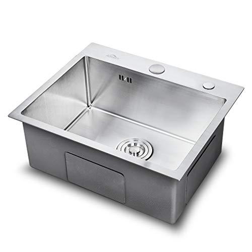 Auralum Küchenspüle Edelstahl Waschbecken Einbauspüle Spülbecken mit 2 Montagelöcher + Ablaufgarnitur 55 * 45CM