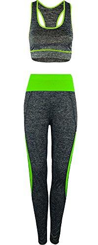 Tuta sportiva a due pezzi, da donna, per yoga, allenamento, fitness, top e pantaloni capri Neon Green
