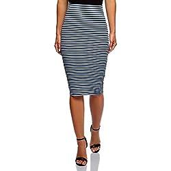 oodji Ultra Mujer Falda Texturizada con Elástico, Azul, ES 42 / L