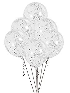 Unique Party- Paquete de 6 globos confetti, Color plata, 30 cm (58112)
