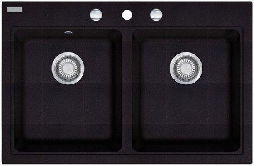 Image of Franke Maris MRG 620Black Onyx Granite Sink Double Bowl Kitchen Sink Cushion