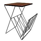 Kersten Retro Beistelltisch mit Magazinhalter | Tisch Abstelltisch Metall Couchtisch Holz (H:60cm) (Dunkel)