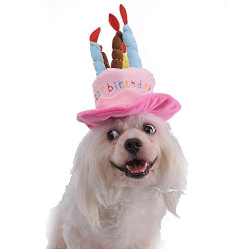 CAOQAO Chapeau d'anniversaire pour Animaux De Compagnie,Chiens Pet Chien Anniversaire Chapeau Chapeau avec des Gateaux Bougies Conception Fete d'anniversaire pour Les Chats Etde Costume De FêTe Chiot