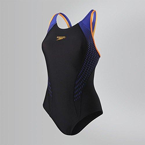Speedo Damen Passform Aquacharge Badeanzug, Damen, Fit Laneback, Schwarz/Violett, 40