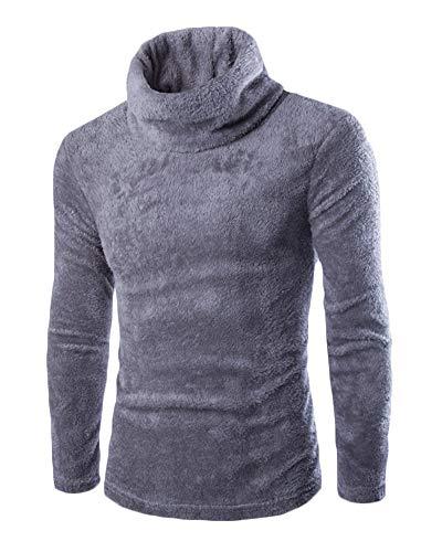 Yonglan Pullover Für Männer Haufen Kragen Verdicken Warm Volltonfarbe Slim Fit Plüsch-Pullover Mittelgrau L - Plüsch Pullover