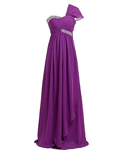 FAIRY COUPLE Robe de Soirée Mousseline en Une Epaule à Mancherons Forme Empire Multi Couleurs et Tailles D0173 Violet