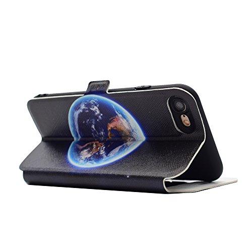 Apple iPhone 7 4.7 hülle, Voguecase Kunstleder Tasche PU Schutzhülle Tasche Leder Brieftasche Hülle Case Cover (Sichtfenster/Bunt Schmetterling 05) + Gratis Universal Eingabestift Sichtfenster/Erde