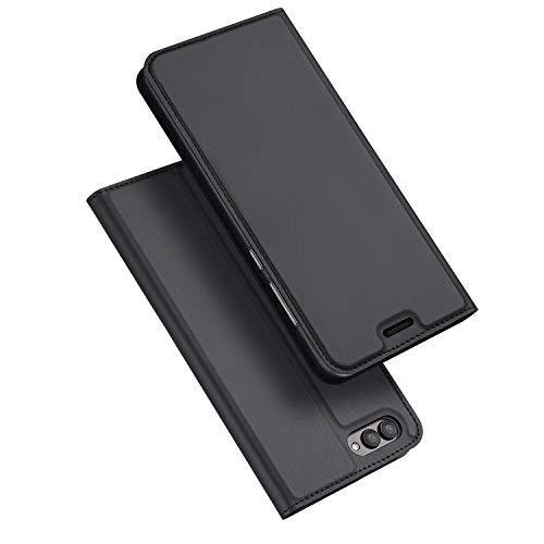 SMTR Huawei Honor View 10 Wallet Tasche Hülle - [Eingebauter Magnet][Ultra Slim][Card Slot] Flip Wallet Case Etui für Huawei Honor View 10 - Skin series schwarz