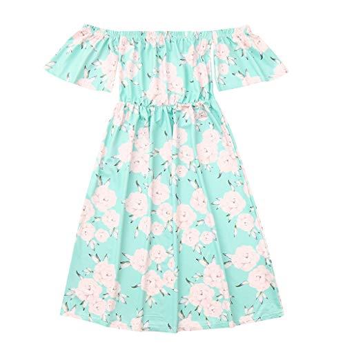 Xmansky Partnerlook Mutter und Tochter Blumen Kleid,Familie ausgestattet Kurzarm trägerlos Rockkleid Strandrock,Geeignet für Freundinnen,Passende Familienkleidung