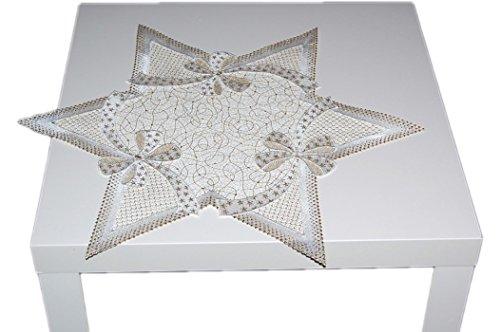(MODERN+ELEGANT Tischdecke STERN 59 cm WEIHNACHTEN PLAUENER SPITZE® Sterne sekt GOLD Spitzendecke Advent (Stern 59 cm))