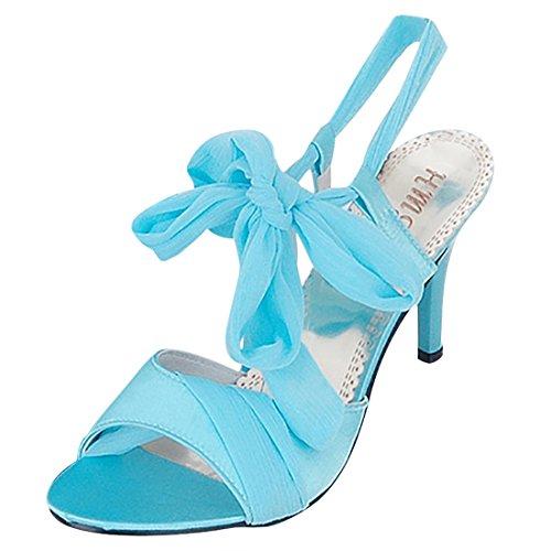 UH Damen Offene Satin High Heels Plateau Sandalen mit Schnürung Knöchelriemchen Pumps Stiletto 7cm Absatz Schuhe
