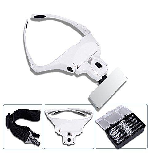 Lupenbrille | 5 einsetzbare Linse| Verstellbare Kopfband |LED Licht | Der&Dies Premium Lupenbrille mit verstellbare Stirnband und fünf einsetzbare Linse für Lesen, Wartung,Nagel, Zahnreinigung.