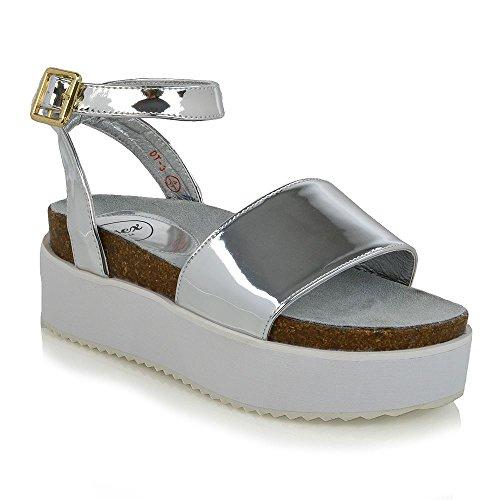 ESSEX GLAM Donna Piattaforma Cinghietti Peep Toe Sintetico Tacco a Cuneo Sandalo Argento metallizzato