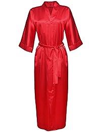 Dkaren - Langer Kimono/Morgenmantel aus Satin - 130