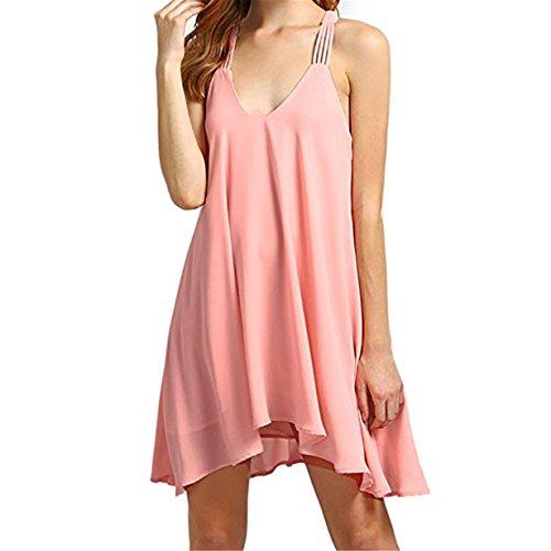 ❤️ Loveso Frauen Ärmellos Strandkleider Jersey Kleid Damen Chiffon ärmellose Feste Beiläufige Rückenfreie V-Ausschnitt Schwingen Kleider Party Minikleid (Rosa❤️, XL) (Weißen Schultern Vintage Parfüm)