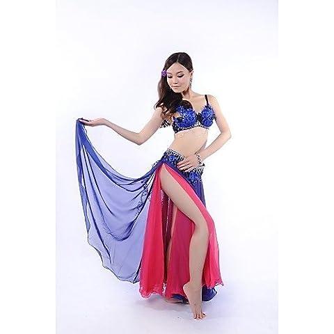 ZY danza del ventre fase prestazioni piume Elegante outfits-set di 3, tra cui top, cintura e gonna (più colori), royal blue-l