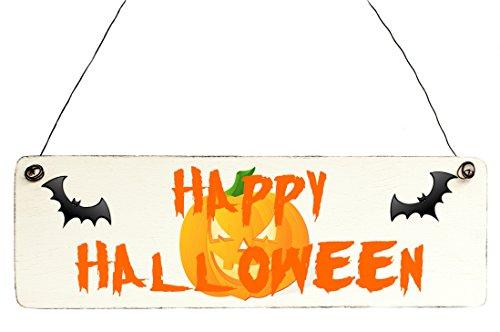 Shabby Vintage Schild Türschild Happy Halloween Kürbis (Halloween Schild Happy)
