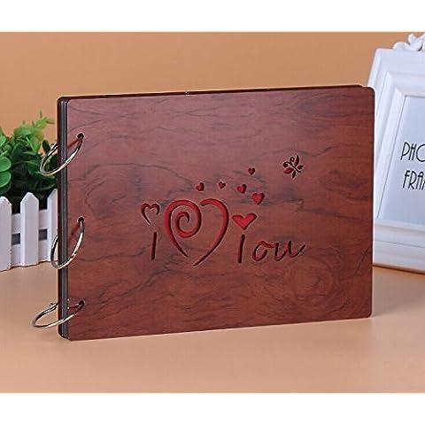 farway DIY Álbum de fotos de madera de Hollow I Love You Aniversario recortes (Out 8x 6cm) (estilo 7)