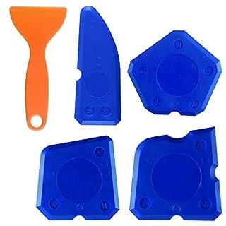 TUPARKA 5 Pieces Sealant Tool Caulking Kit Silicone Finishing Tools for Silicone Sealant Grout Finishing Sealing, Blue