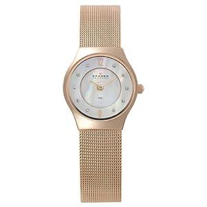 Reloj de mujer Skagen Slimline 233XSRR de cuarzo, correa de acero inoxidable color oro de Skagen
